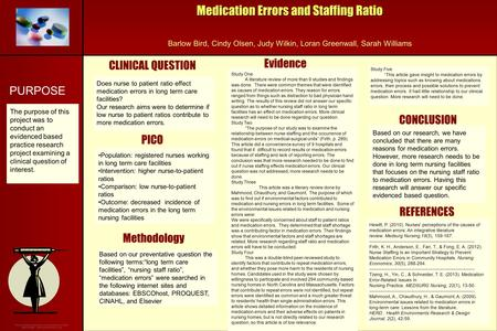 Medication Errors and Staffing Ratio Barlow Bird, Cindy Olsen, Judy Wilkin, Loran Greenwall, Sarah Williams Methodology CLINICAL QUESTION CONCLUSION Evidence.