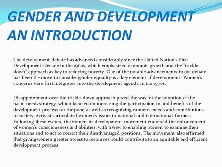 GENDER AND DEVELOPMENT AN INTRODUCTION