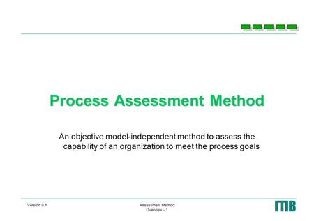 Version 0.1Assessment Method Overview - 1 Process Assessment Method An objective model-independent method to assess the capability of an organization to.