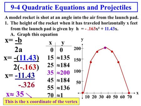 9-4 Quadratic Equations and Projectiles A model rocket is shot at an angle into the air from the launch pad. 1. The height of the rocket when it has traveled.