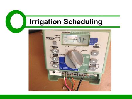 Irrigation Scheduling. 10:00 – 10:15: Personal Introductions 10:15 – 10:45: Background 10: 45 – Noon: Gathering the Data Noon – 12:30: Break 12:30 – 1:30: