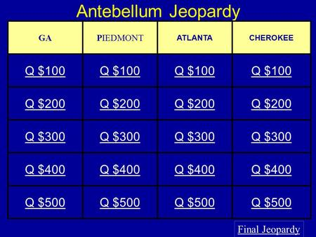 Antebellum Jeopardy Final Jeopardy GAPIEDMONT ATLANTACHEROKEE Q $100 Q $200 Q $300 Q $400 Q $500.