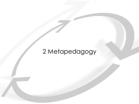 2 Metapedagogy. Pedagogic genre Regulative tenor: success/failure, inclusion/exclusion Regulative field: learning activities doing/ studying projecting.