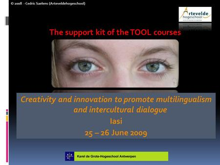© 2008 - Cedric Saelens (Arteveldehogeschool) The support kit of the TOOL courses Creativity and innovation to promote multilingualism and intercultural.