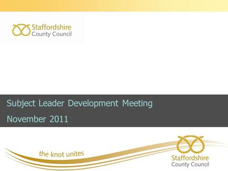 Subject Leader Development Meeting November 2011.