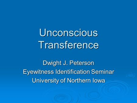 Unconscious Transference