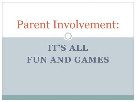 IT'S ALL FUN AND GAMES Parent Involvement:.  PRIZES GAMES FOOD MEDIA PTO National Gaming Day.