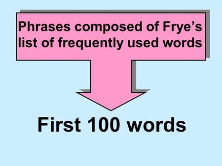 Phrases composed of Frye's list of frequently used words First 100 words.