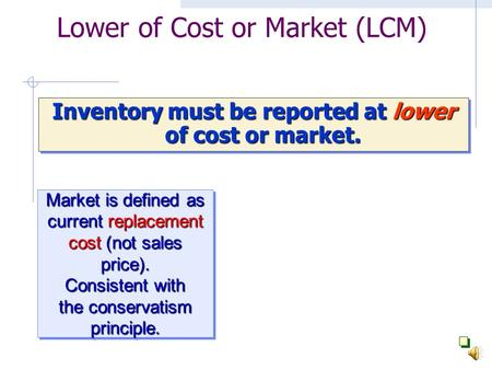 Lower of Cost or Market (LCM) Inventory must be reported at lower of cost or market. Market is defined as current replacement cost (not sales price).
