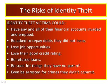 The Risks of Identity Theft IDENTITY THEFT VICTIMS COULD: Have any and all of their financial accounts invaded and emptied.Have any and all of their financial.