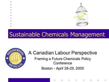 Sustainable Chemicals Management A Canadian Labour Perspective Framing a Future Chemicals Policy Conference Boston - April 28-29, 2005.