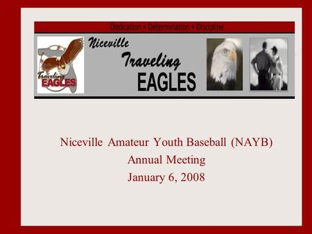 Niceville Amateur Youth Baseball (NAYB) Annual Meeting January 6, 2008.