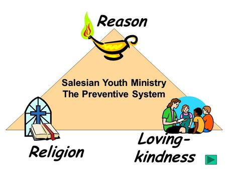 Religion Loving- kindness Reason Salesian Youth Ministry The Preventive System Salesian Youth Ministry The Preventive System.