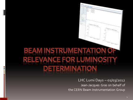 LHC Lumi Days – 01/03/2012 Jean-Jacques Gras on behalf of the CERN Beam Instrumentation Group 1.