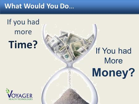 What Would You Do… If you had more Time? If You had More Money?