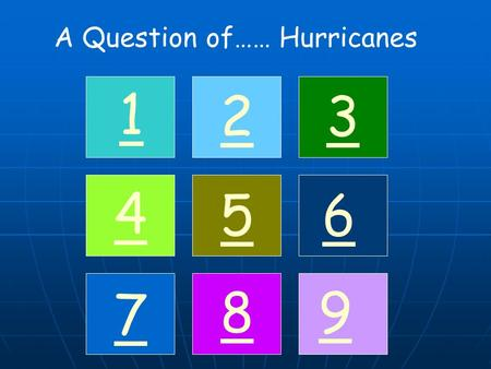 A Question of…… Hurricanes 1 32 4 56 7 89. 1 Here are the names which will be used for naming hurricanes in the next three seasons. What are the 'rules'