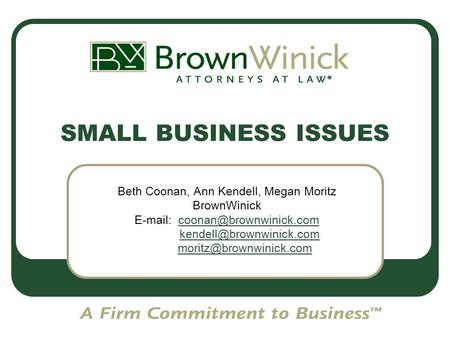 SMALL BUSINESS ISSUES Beth Coonan, Ann Kendell, Megan Moritz BrownWinick
