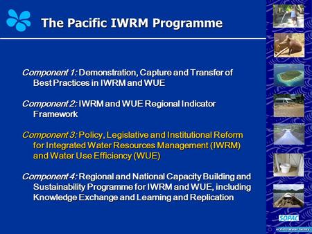 The Pacific IWRM Programme Component 1: Demonstration, Capture and Transfer of Best Practices in IWRM and WUE Component 2: IWRM and WUE Regional Indicator.