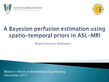 Miguel Lourenço Rodrigues Master's thesis in Biomedical Engineering December 2011 1.