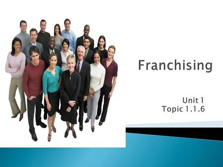 Franchising Unit 1 Topic 1.1.6.