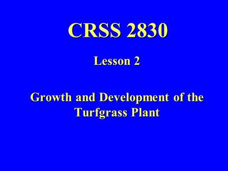 CRSS 2830 Lesson 2 Growth and Development of the Turfgrass Plant.
