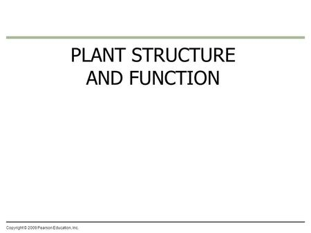 Copyright © 2009 Pearson Education, Inc. PLANT STRUCTURE AND FUNCTION.
