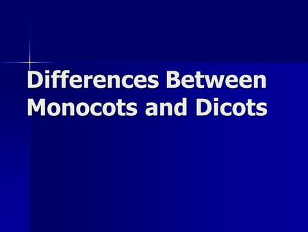 Differences Between Monocots and Dicots. What are they? All flowering plants fall into one of two categories All flowering plants fall into one of two.