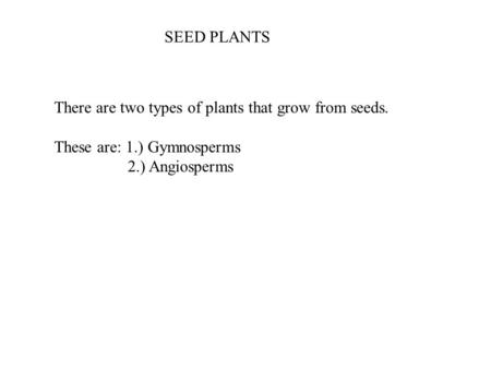 There are two types of plants that grow from seeds. These are: 1.) Gymnosperms 2.) Angiosperms SEED PLANTS.