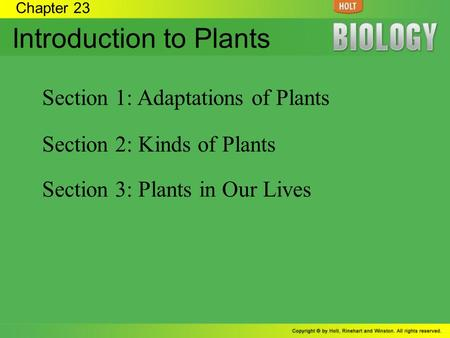 Chapter 23 Introduction to Plants Section 1: Adaptations of Plants Section 2: Kinds of Plants Section 3: Plants in Our Lives.