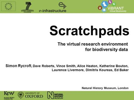 Scratchpads The virtual research environment for biodiversity data Simon Rycroft, Dave Roberts, Vince Smith, Alice Heaton, Katherine Bouton, Laurence Livermore,