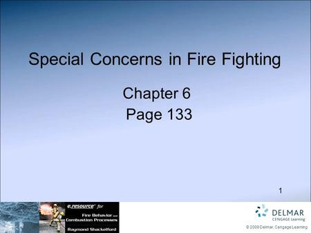 1 © 2009 Delmar, Cengage Learning Special Concerns in Fire Fighting Chapter 6 Page 133.