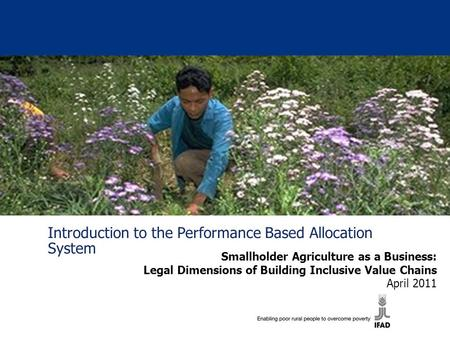 Introduction to the Performance Based Allocation System Smallholder Agriculture as a Business: Legal Dimensions of Building Inclusive Value Chains April.