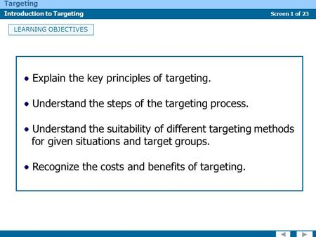 Screen 1 of 23 Targeting Introduction to Targeting LEARNING OBJECTIVES Explain the key principles of targeting. Understand the steps of the targeting process.