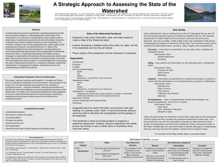 A Strategic Approach to Assessing the State of the Watershed Abstract A watershed assessment is essential for evaluating watershed health and ecosystem.