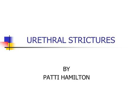 URETHRAL STRICTURES BY PATTI HAMILTON. What is a urethral stricture? A urethral stricture is a narrowing in any part of the urethra – the tube that drains.