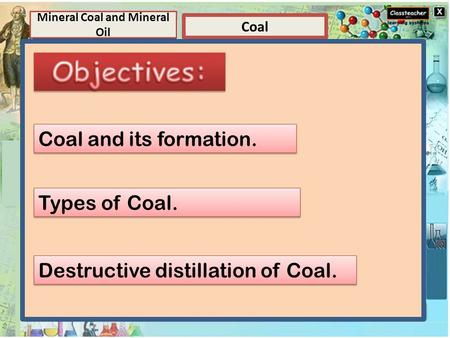 Element Elements and Compounds Coal Mineral Coal and Mineral Oil Compounds A compound is a substance composed of two or more elements, chemically combined.