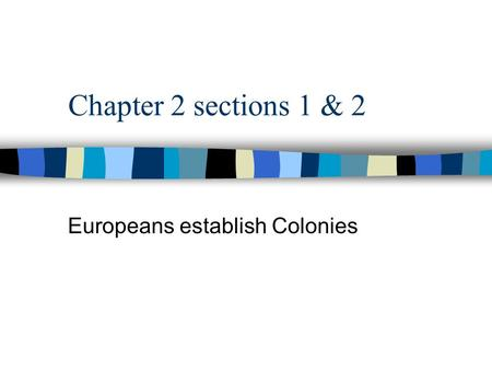 Chapter 2 sections 1 & 2 Europeans establish Colonies.