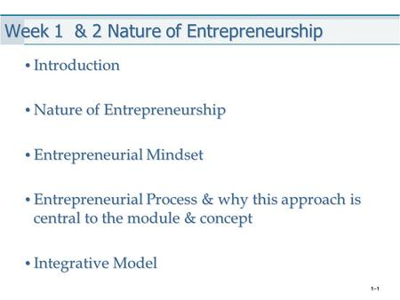 Week 1 & 2 Nature of Entrepreneurship