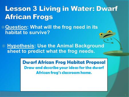 Lesson 3 Living in Water: Dwarf African Frogs
