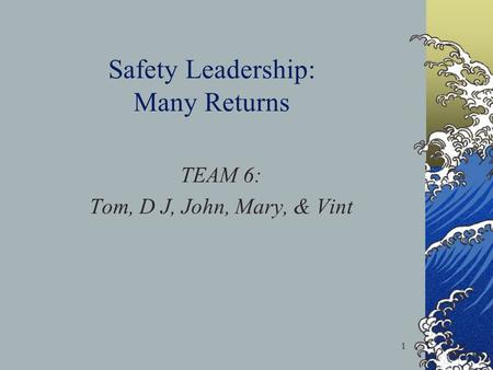 1 Safety Leadership: Many Returns TEAM 6: Tom, D J, John, Mary, & Vint.