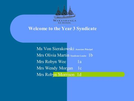 Welcome to the Year 3 Syndicate Ms Von Sierakowski Associate Principal Mrs Olivia Martin Syndicate Leader 1b Mrs Robyn Wee 1a Mrs Wendy Morgan 1c Mrs Robyn.