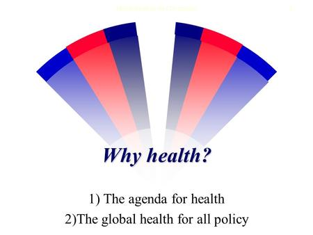 Health for all in the 21st century1 Why health? 1) The agenda for health 2)The global health for all policy.