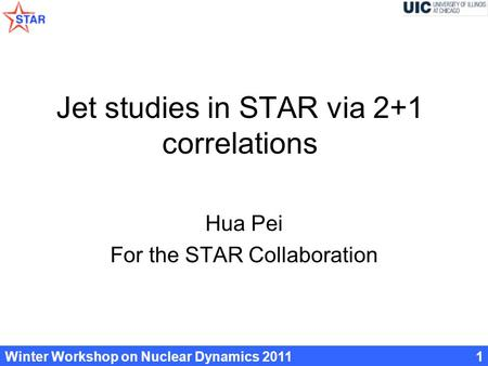 Winter Workshop on Nuclear Dynamics 20111 Jet studies in STAR via 2+1 correlations Hua Pei For the STAR Collaboration.