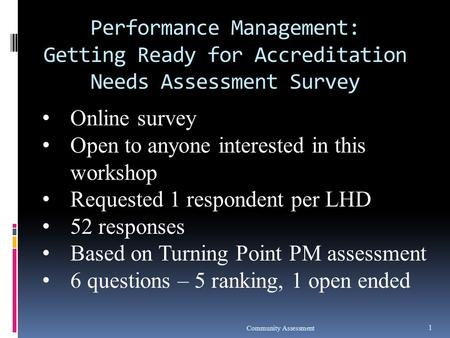Performance Management: Getting Ready for Accreditation Needs Assessment Survey Community Assessment 1 Online survey Open to anyone interested in this.