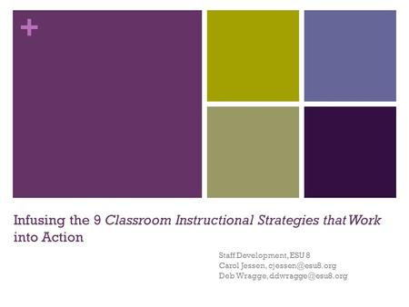 + Infusing the 9 Classroom Instructional Strategies that Work into Action Staff Development, ESU 8 Carol Jessen, Deb Wragge,
