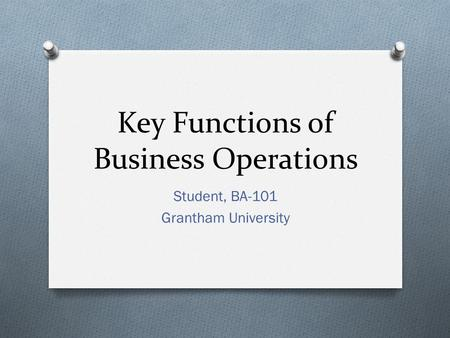 Key Functions of Business Operations