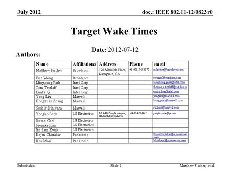 Target Wake Times Date: Authors: July 2012 Month Year