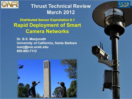 Distributed Sensor Exploitation 6.1 Rapid Deployment of Smart Camera <strong>Networks</strong> Dr. B.S. Manjunath University of California, Santa Barbara