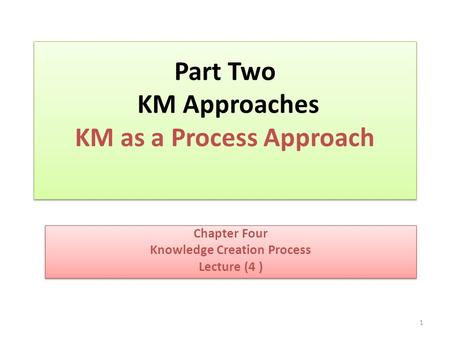 Part Two KM Approaches KM as a Process Approach Chapter Four Knowledge Creation Process Lecture (4 ) Chapter Four Knowledge Creation Process Lecture (4.
