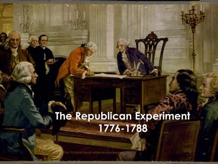 The Republican Experiment 1776-1788. Defining a republican culture After the 13 colonies came together to fight the British and won their independence.